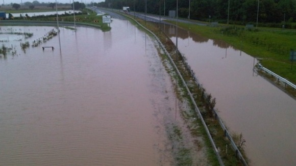 Flood water covers the A1 road in both directions near Darlington.