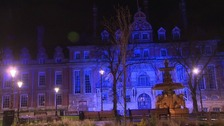 Leicester lit-up blue to support the Foxes title hopes