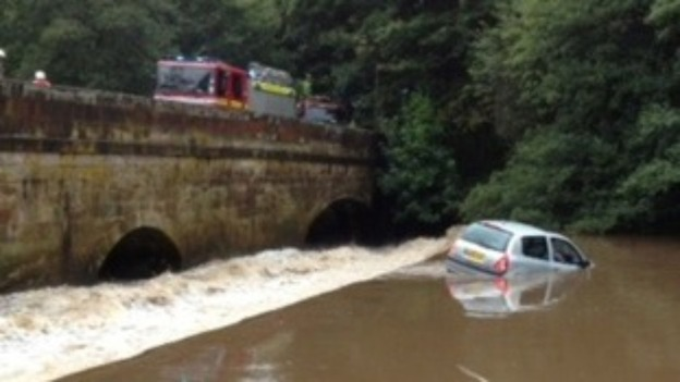 The car in the water in Oakamoor, Staffordshire