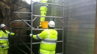 Flood defences going up in Shrewsbury