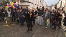 Devon town celebrates as one way system reversed