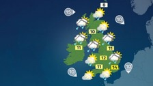 Weather: A mixture of sunny spells and some showers