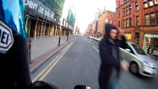 Near-miss for biker and pedestrian