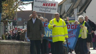 Protest march in Huntingdon over possible plans for hospital merger