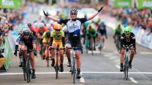 Kirsten Wild celebrates winning stage 2 of Tour de Yorkshire