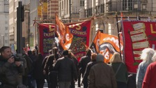 Hundreds of trade union members march through Leeds