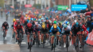 Team Sky's Danny Van Poppel (right) wins stage two of the Tour de Yorkshire.