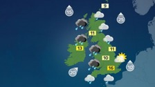 Weather: Rain and strong winds moving north to south