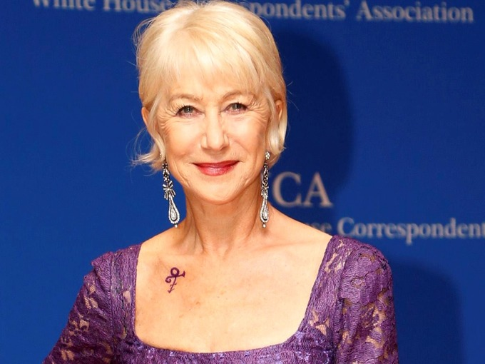 Helen Mirren Pays Tribute To Prince With Purple Dress And Tattoo At