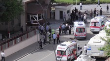 The blast occurred in front of a police headquarters in the city