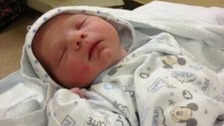 The photo of the newborn was shared with the police after his dramatic arrival