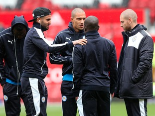 Riyad Mahrez places a hand on N'Golo Kante's shoulder as team warms up ahead of arguably the biggest 90 minutes of their lives,