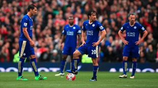 Leicester City's Leonardo Ulloa (left) and Shinji Okazaki prepare to kick off