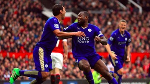 Leicester captain Wes Morgan celebrates his equaliser against Manchester United.
