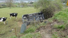 Elderly couple trapped for 14 hours in overturned car