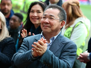 Leicester City Chairman Vichai Srivaddhanaprabha applauds the fans after Leicester's draw at Old Trafford,