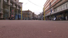Leicester city centre was a ghost town this afternoon with pubs packed
