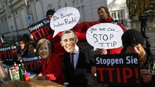 Protesters demonstrate against TTIP free trade agreement