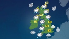 Weather: Cloudy, with heavy rain and winds for a time