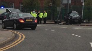 Crash at Salford's Pendleton roundabout