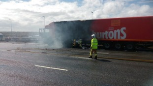 Warburtons lorry on fire