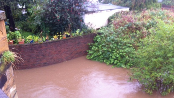 Flooded gardens on Teesside
