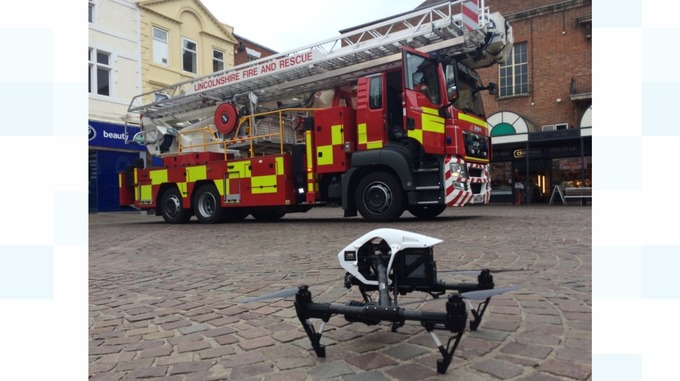 Scene in Lincolnshire where drone helps in rooftop rescue