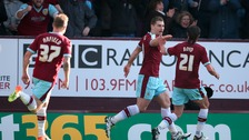 Sam Vokes celebrates the goal that sealed promotion for Burnley