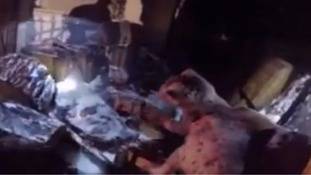 Rescue of kittens from fire shown in dramatic headcam footage
