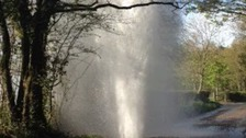 Tower of water after main bursts in Hampshire road