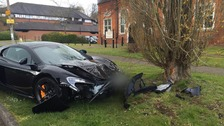 Supercar wrecked after driver crashes into a tree