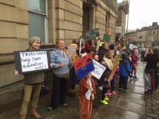 Schoolchildren and parents stage a SATs protest outside Todmorden Town Hall