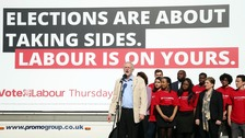 Jeremy Corbyn was at a poster campaign launch on Monday