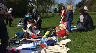 Children in Cambridge engage in outdoor learning instead of going to school today.