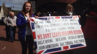 Supporters of John Armstrong in Carlisle today
