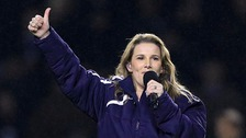 Sam Bailey performing at the King Power stadium