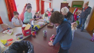 Children taking part in arts and crafts at Brafferton Village Hall, Darlington