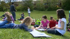 hildren in Cambridge engage in outdoor learning instead of going to school today.