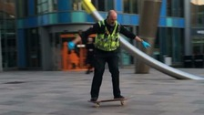 Cardiff policeman shows off skateboarding skills