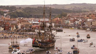 A replica of Captain James Cook's HM Bark Endeavour