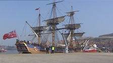 Replica of Captain Cook's Endeavour entering Whitby Harbour, March 2004