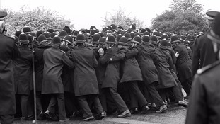 Concerted push by the police against a section of the miners' picket force outside the Orgreave Coking Plant