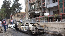 The al-Dabit maternity clinic in Aleppo was damaged by rocket fire.