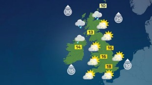 Temperatures will reach highs of 18C.