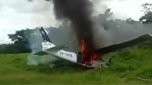 Footage shows police gun battle after suspected drug smuggling plane shot down