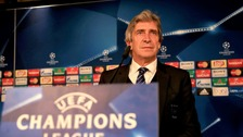 Manchester City manager Manuel Pellegrini during a press conference at the Santiago Bernabeu, Madrid.