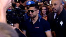 Amir Khan arrives at the MGM Grand hotel in Las Vegas ahead of his bout with Canelo Alvarez.