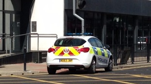 Police cars outside Titan House, Hartlepool
