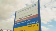 The sign says Blackpool Victoria Hospital, operated by the Blackpool Teaching Hospitals Trust.
