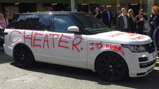 Spurned lover's revenge by plastering car with graffiti
